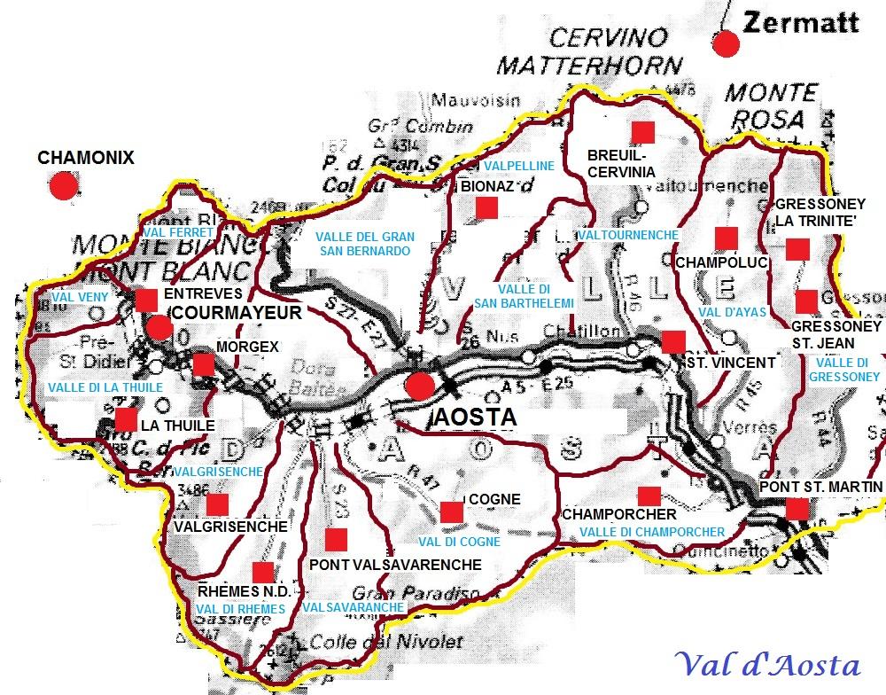 Cartina Valle D Aosta Stradale.Valle D Aosta